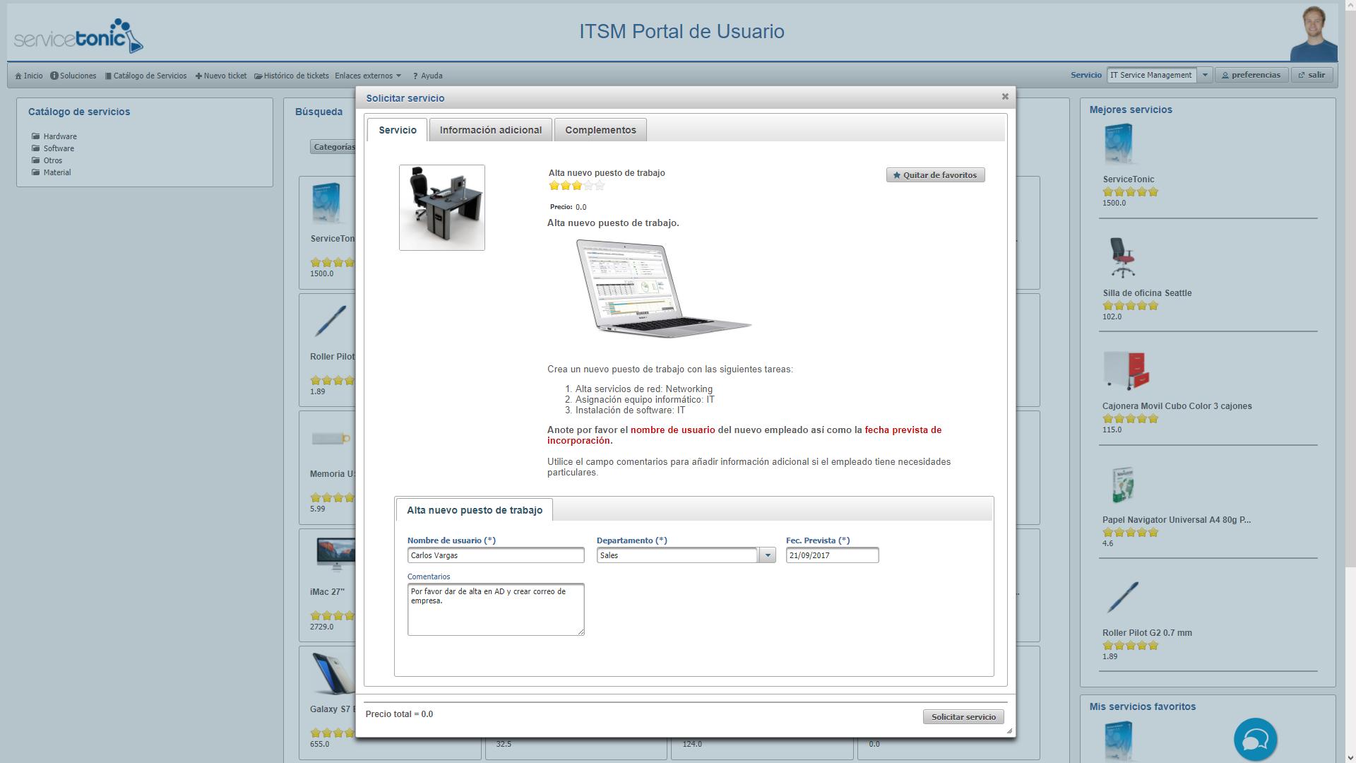 Catálogo de servicios en el portal de usuarios