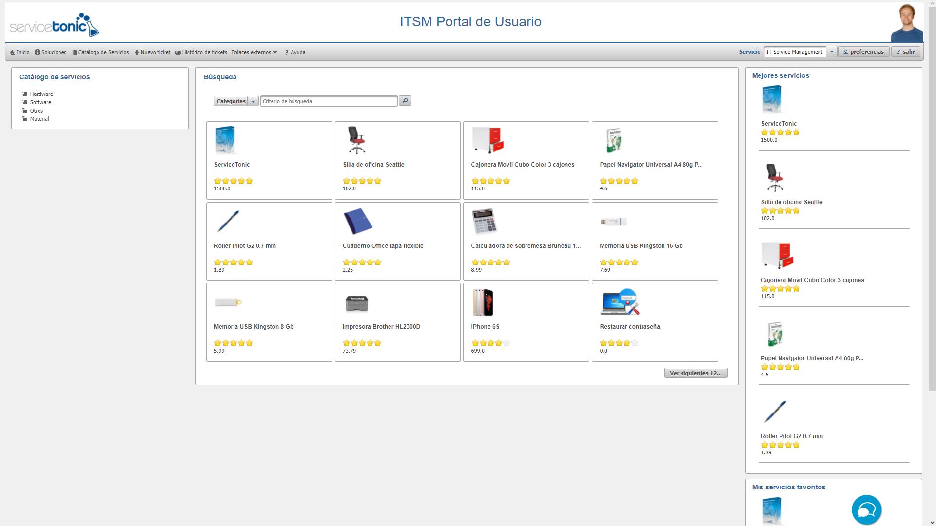Catálogo de servicios en el Portal de Usuario