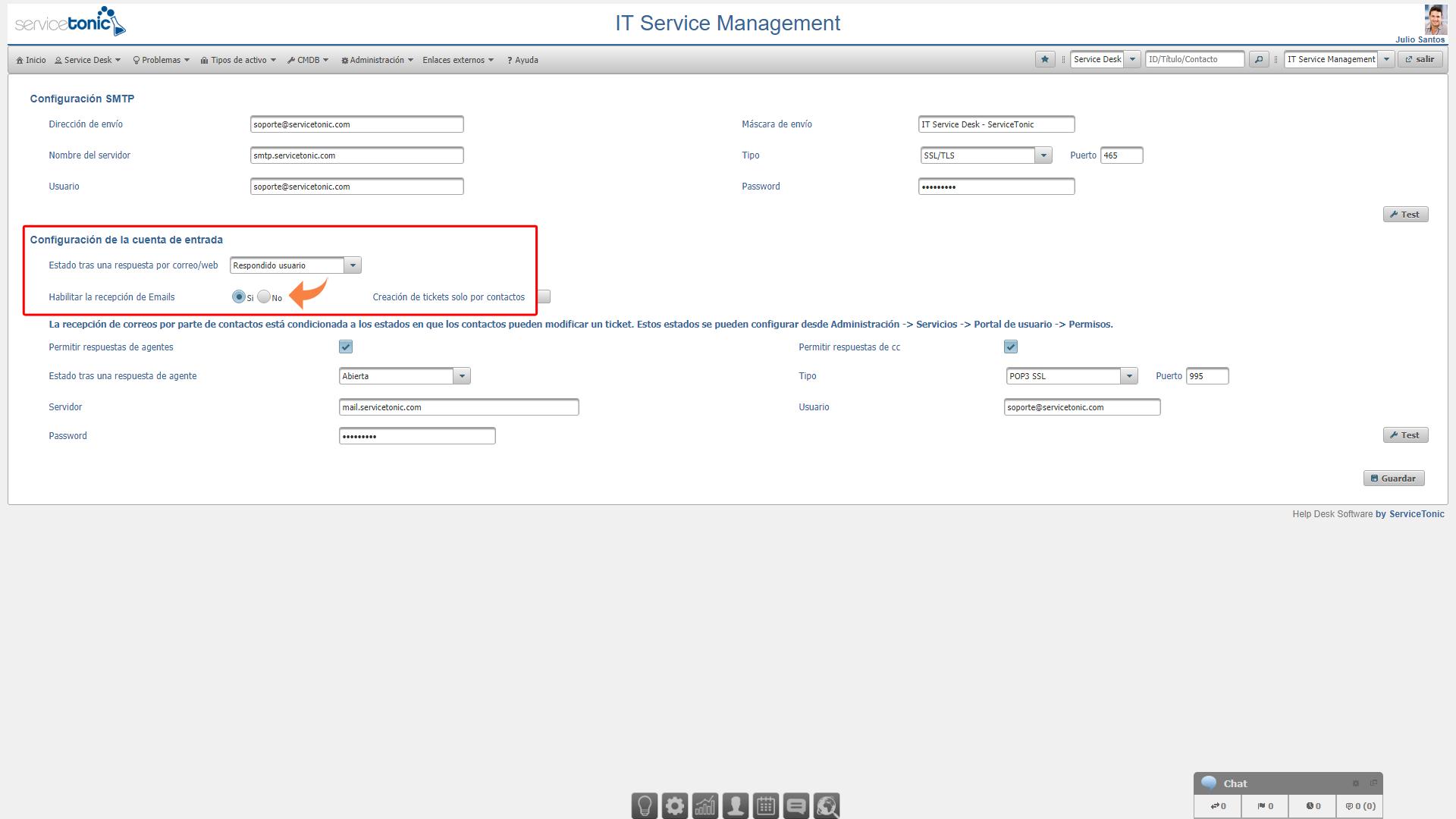 Configuración de email en el Service Desk