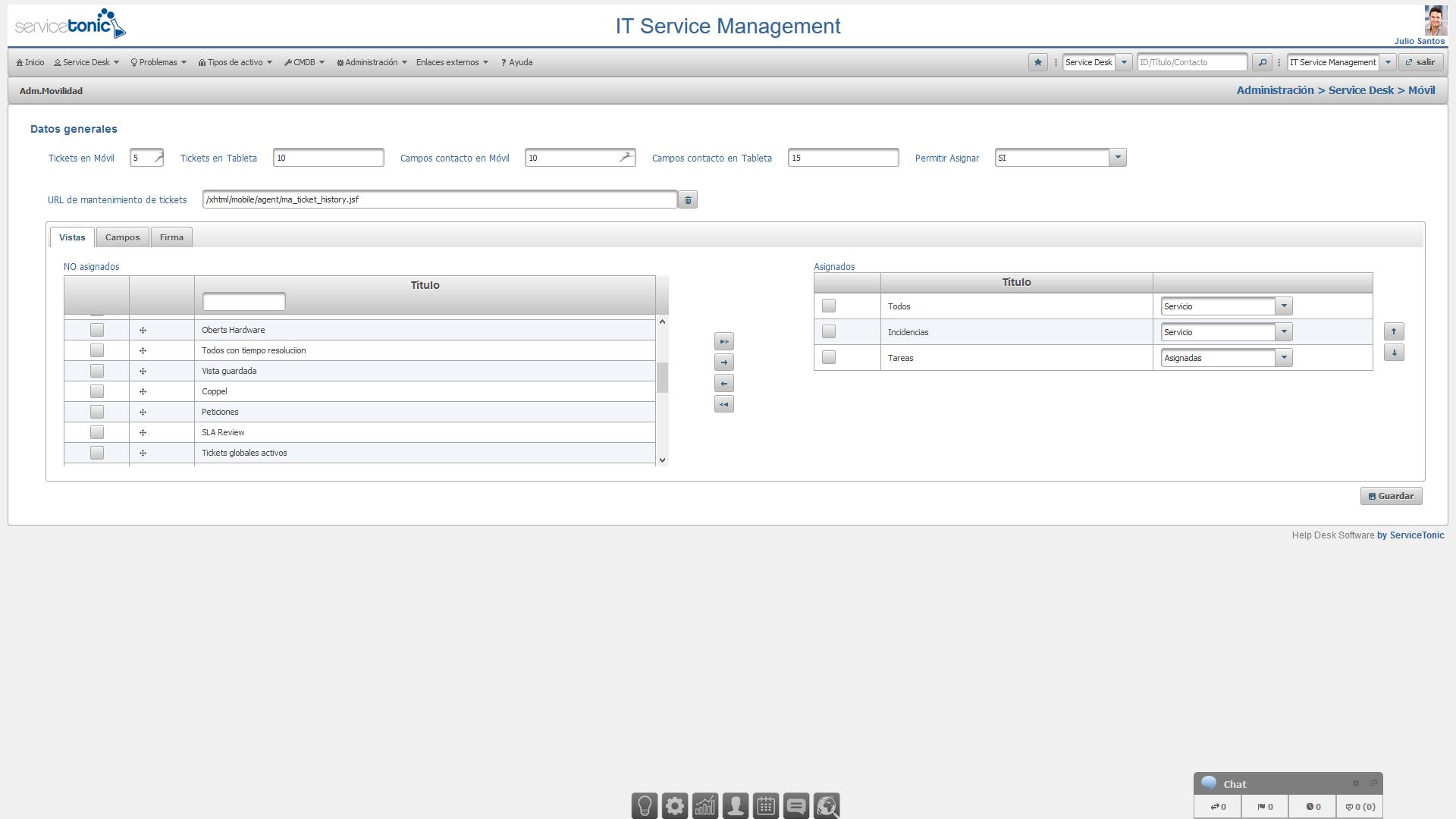 Configuración del Service Desk en movilidad