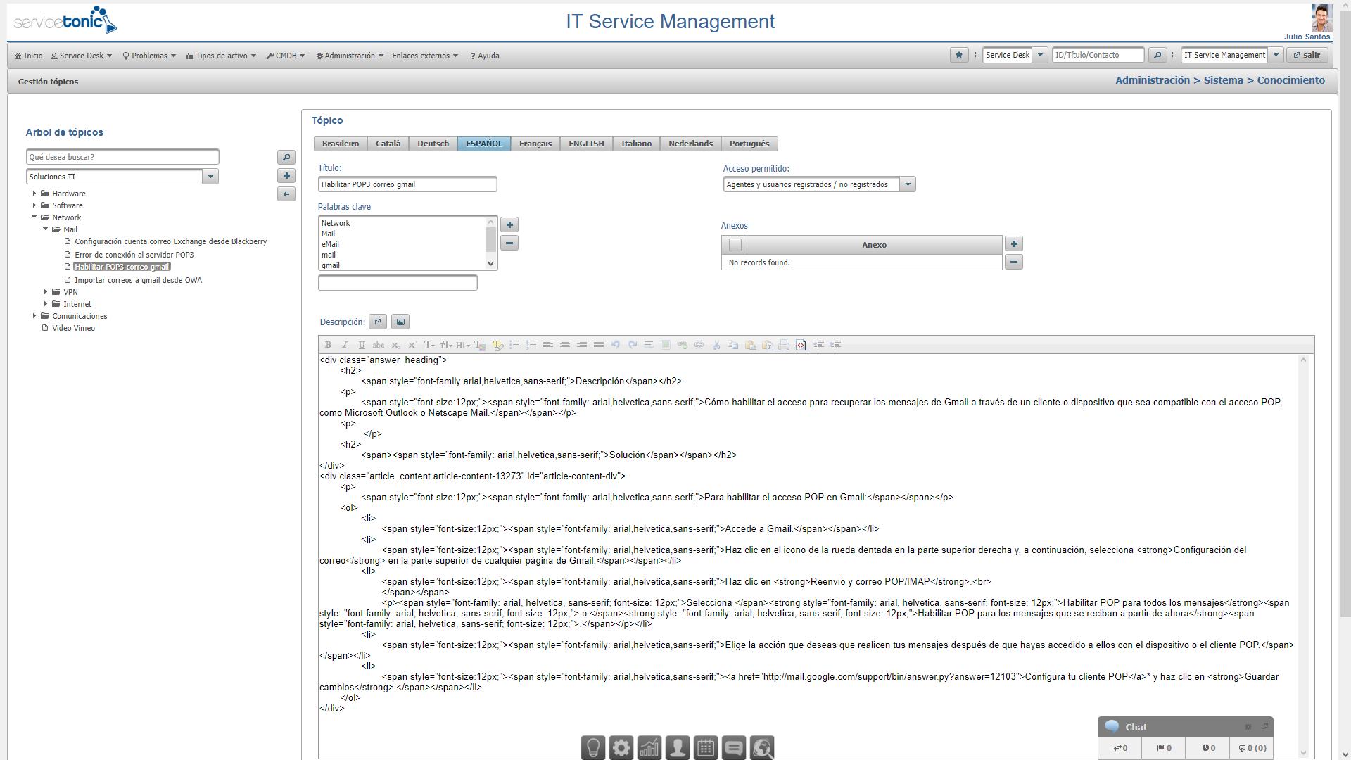 Base de conocimientos editor html