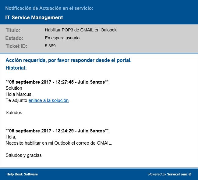 El usuario recibe un correo electrónico con un enlace a la solución en la base de conocimientos