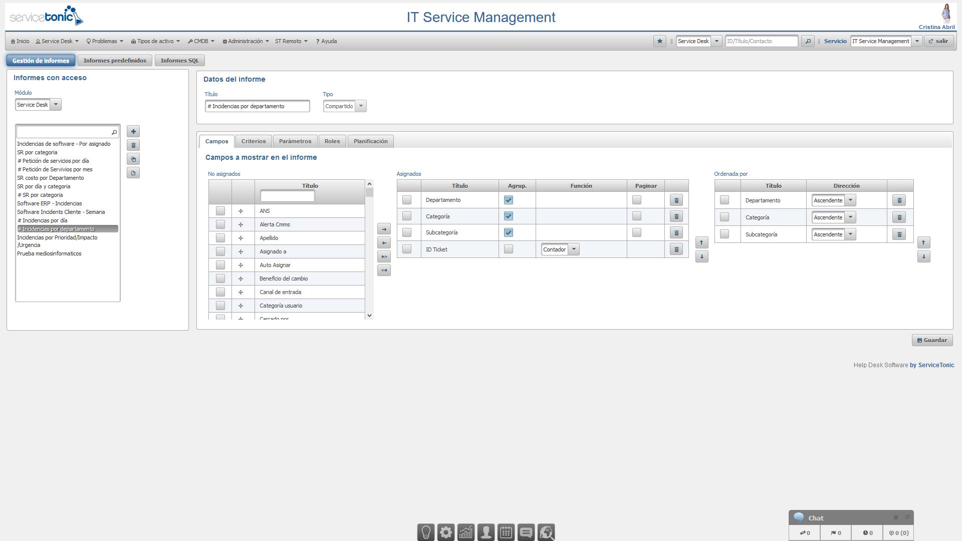 Configuración de informes personalizados