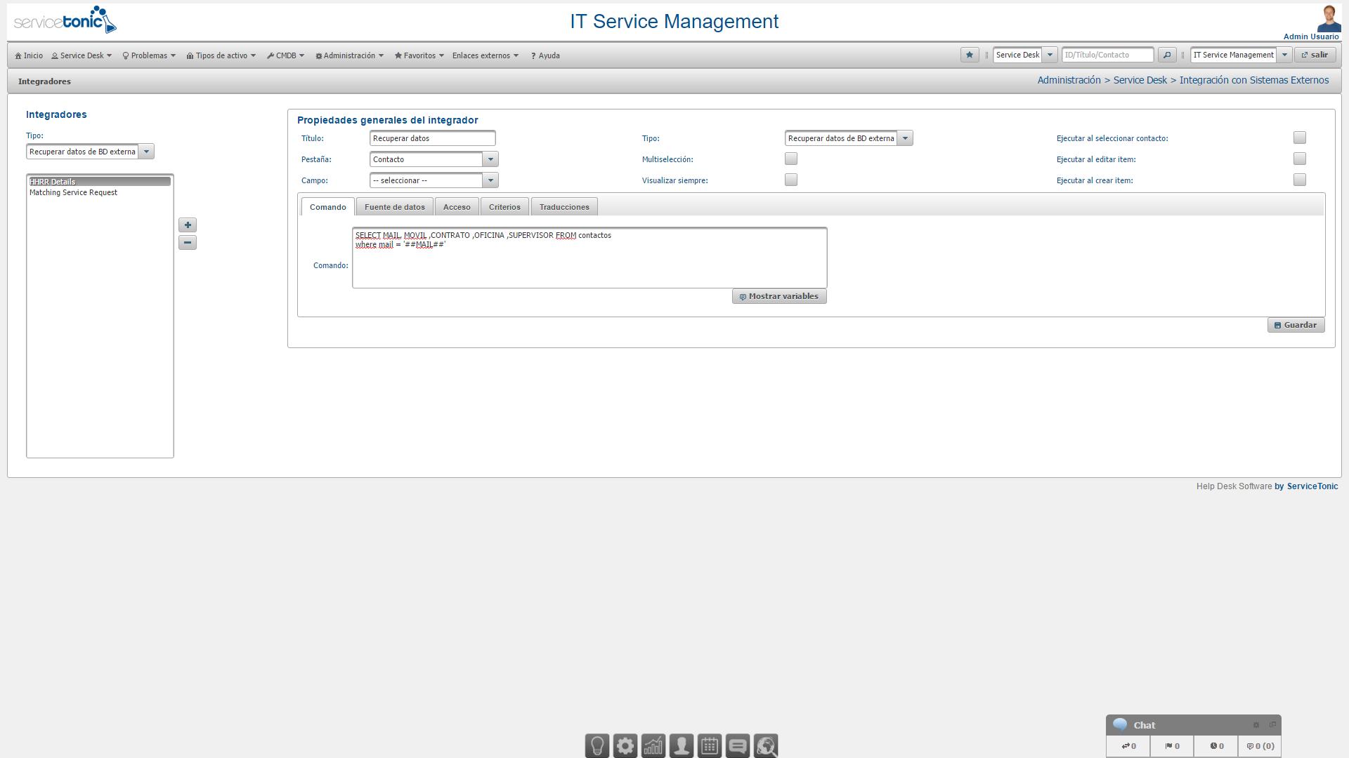 Integración de la configuración con el sistema externo