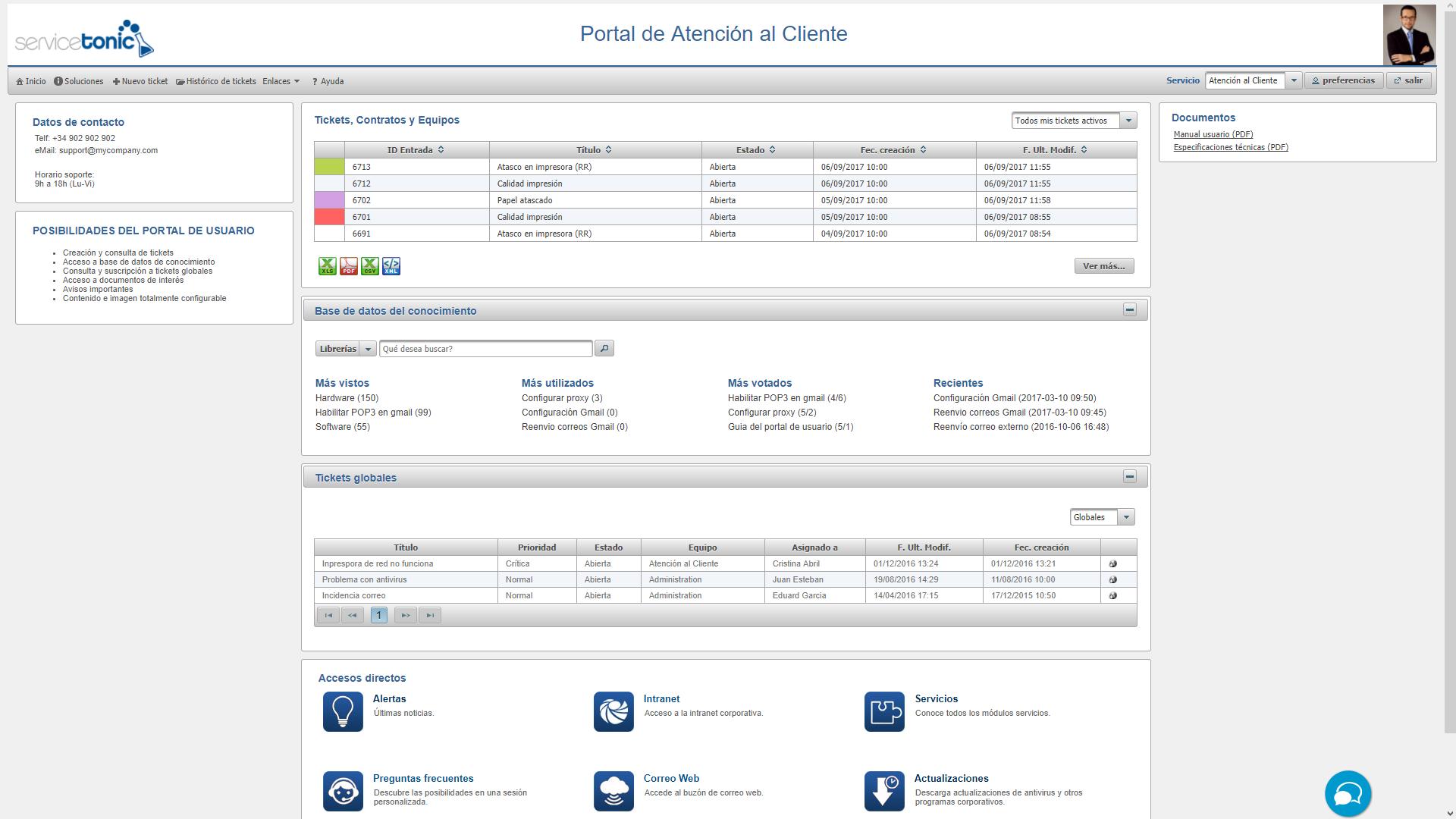 Portal del usuario del servicio de atención al cliente